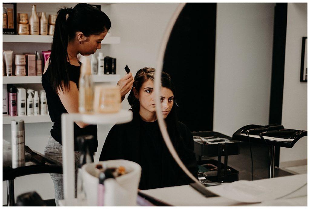 préparatifs de la mariée, salon de coiffure, photographe mariage bordeaux