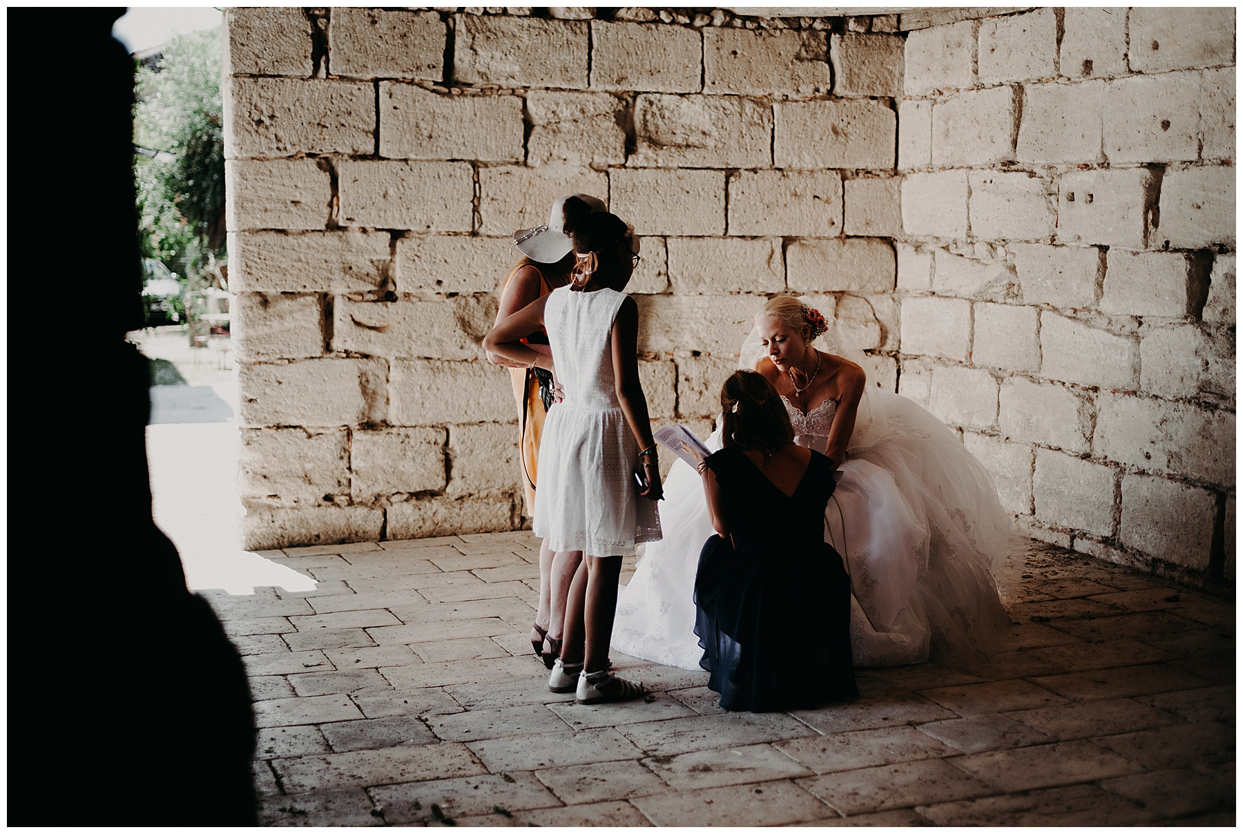 photo de la mariée à l'église de monteton
