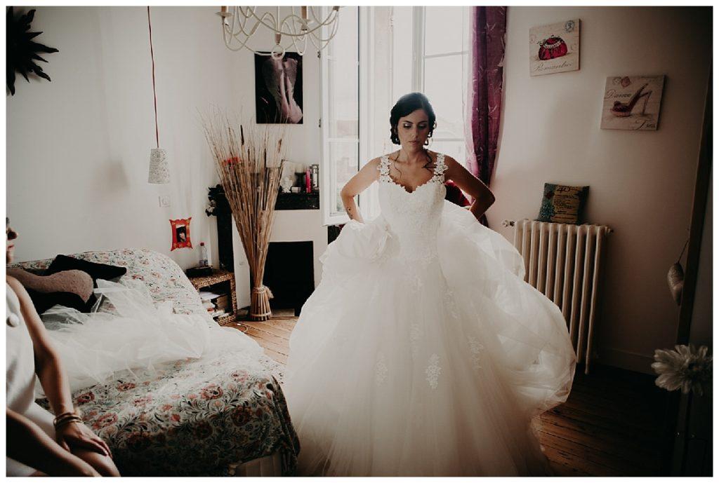 préparatifs de la mariée, robe de mariée, photographe mariage dordogne