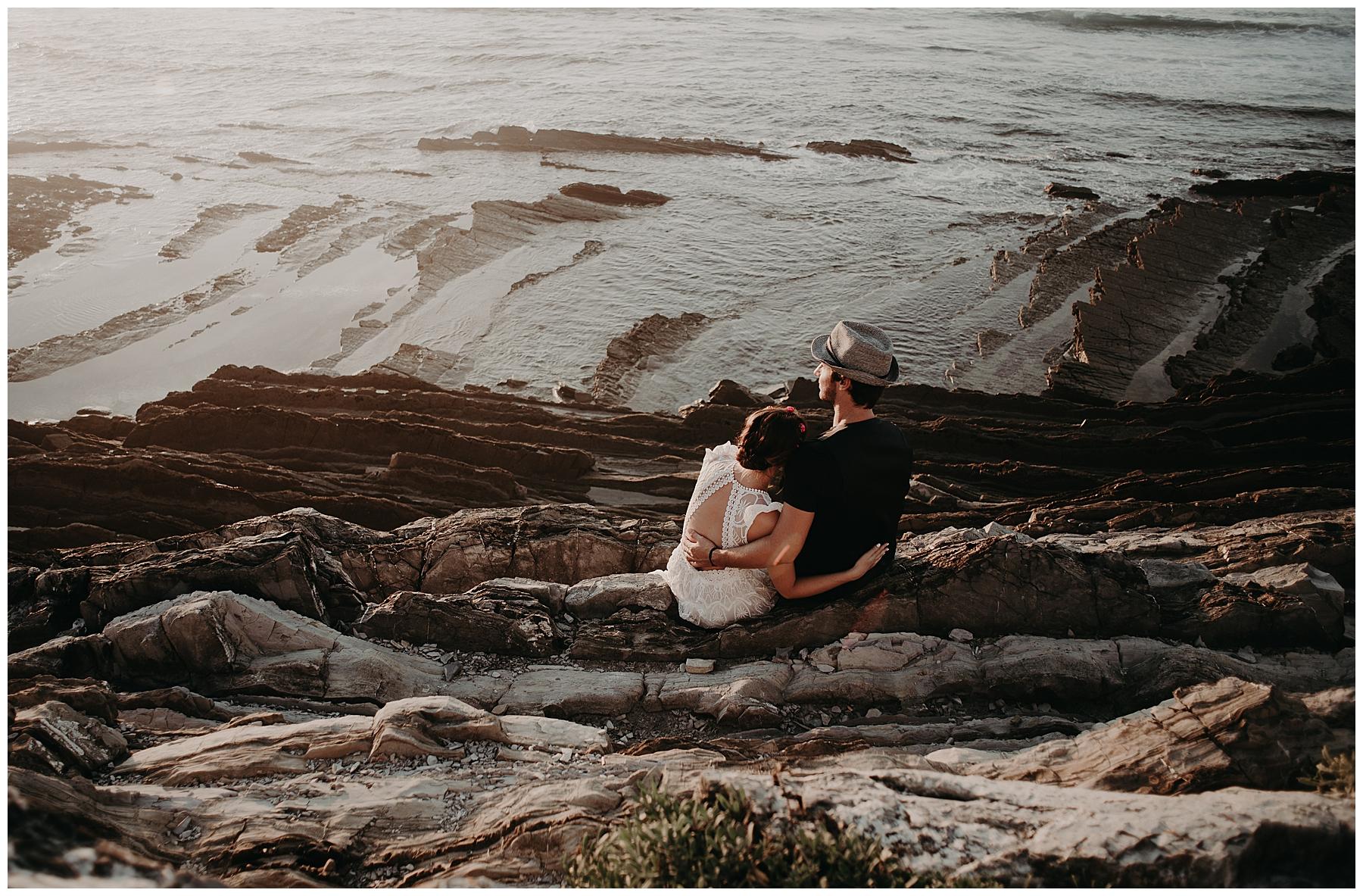 vu sur la mer, coucher de soleil, photo couple saint jean de luz