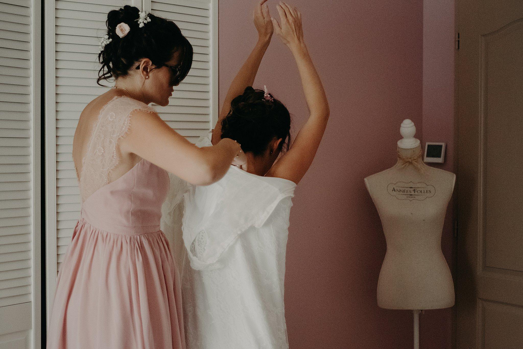 robe de la mariée, préparatifs de la mariée à Bordeaux